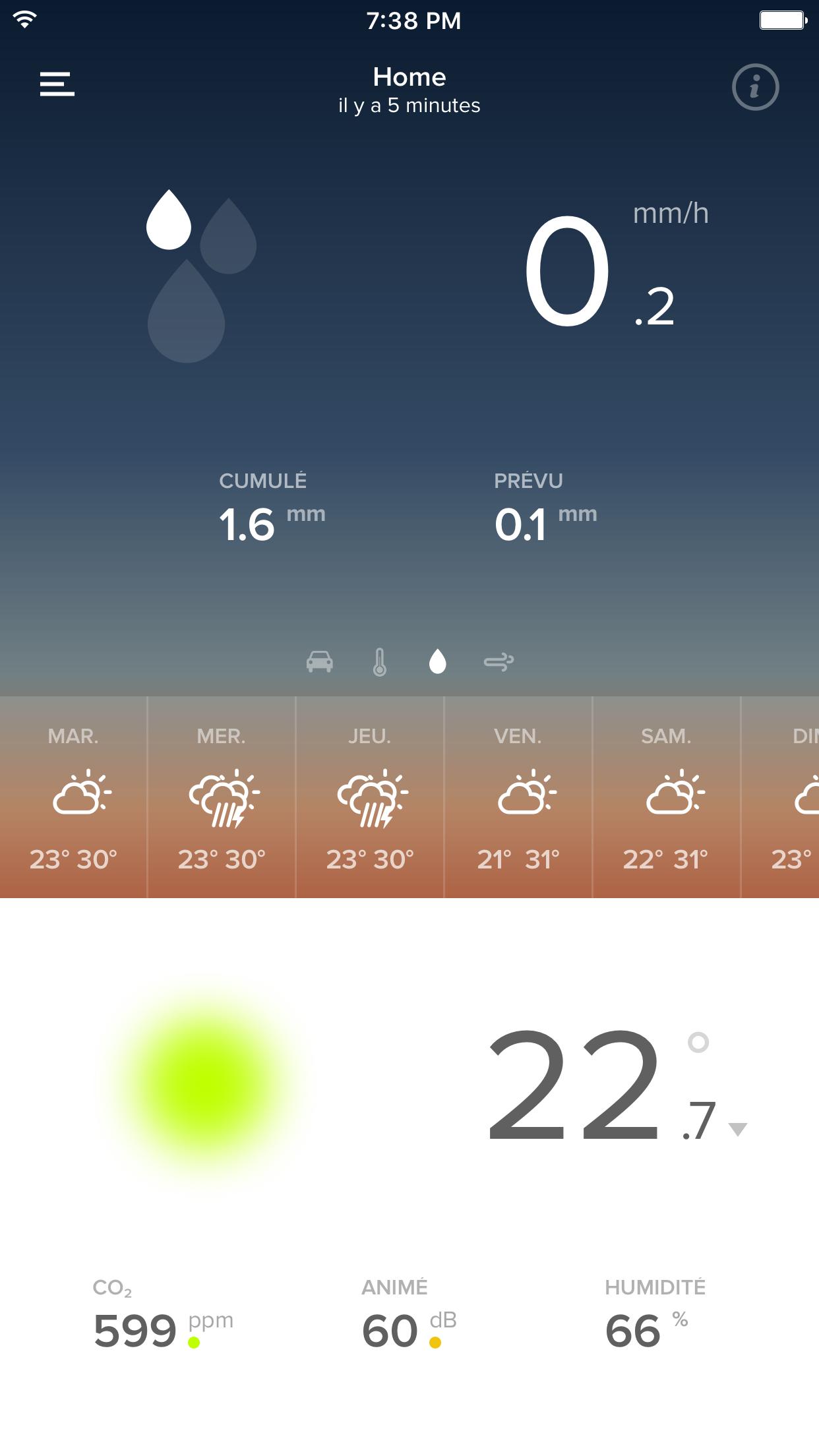 Application Weather on RainGauge Module